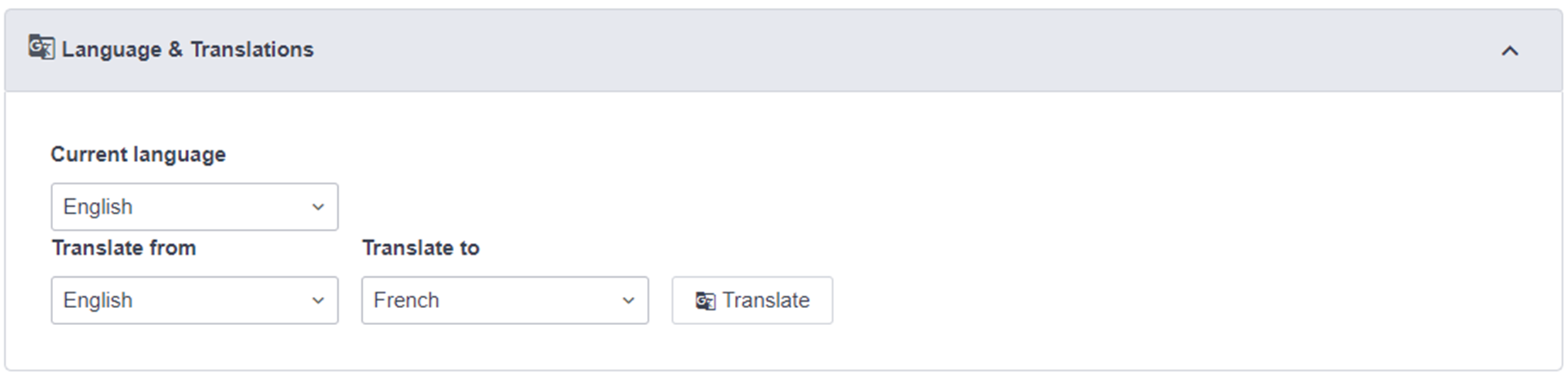 The translate button on a blog article.