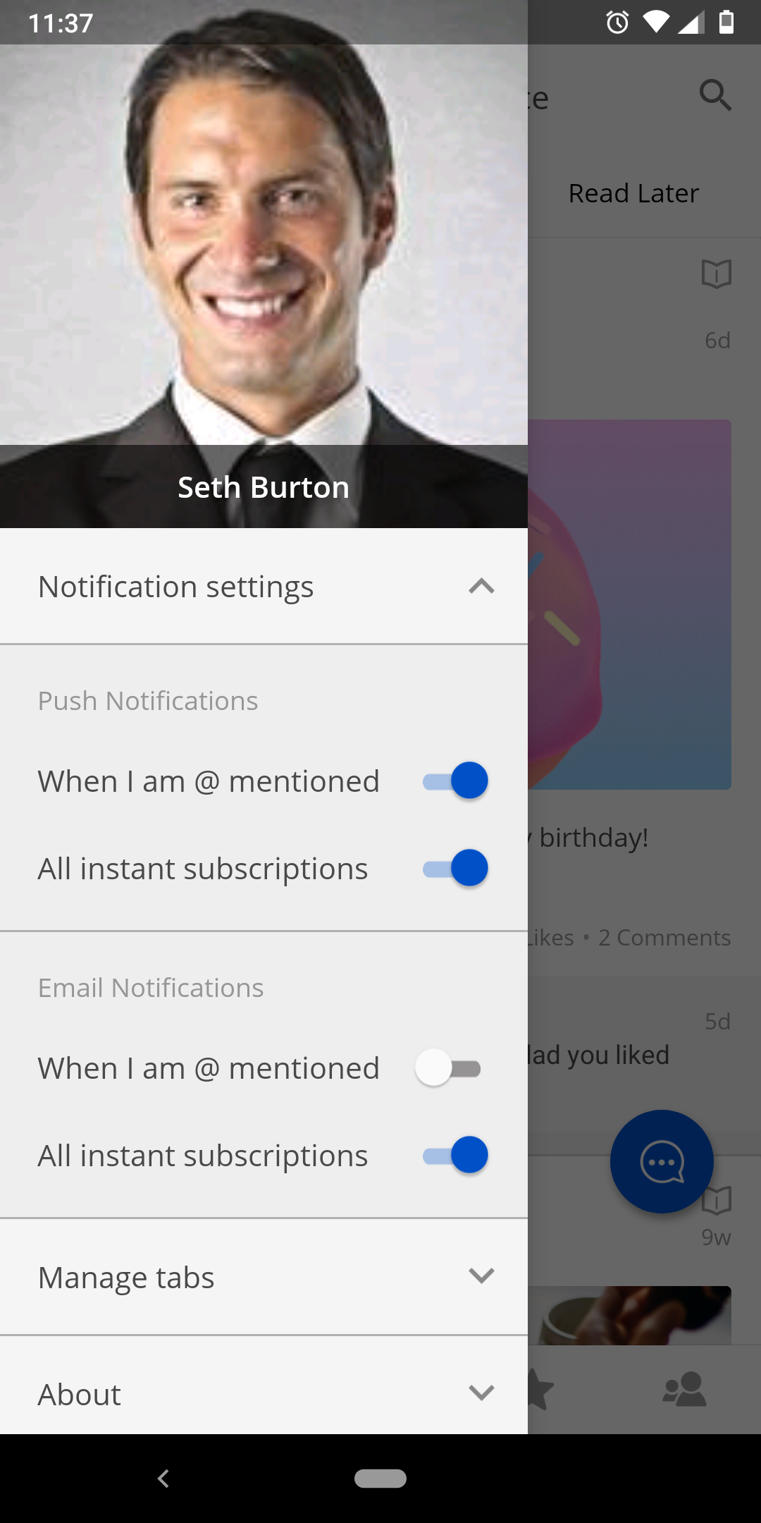 The Notification settings section.